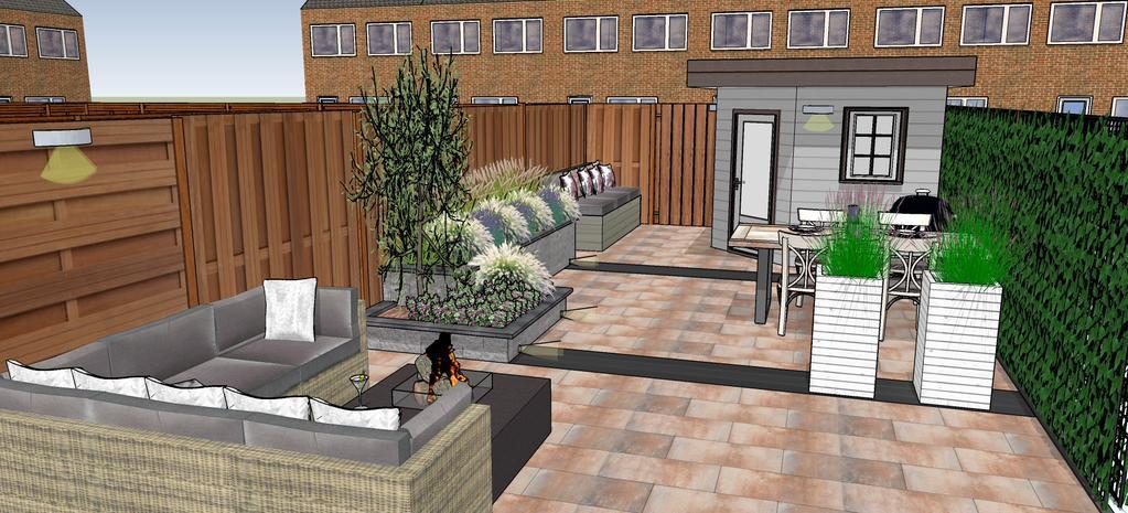 een 3d tuinontwerp van kleine tuin